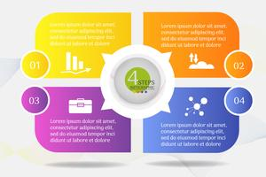 Modèle de Business Design 4 options ou étapes élément graphique infographique. vecteur