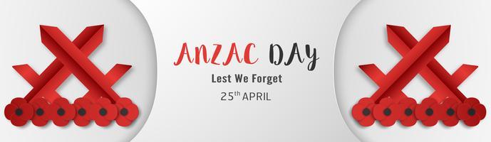 Joyeux Jour Anzac le 25 avril pour qui a servi et qui est mort en Australie et en Nouvelle-Zélande. Modèle d'élément de modèle pour la bannière, affiche, voeux, invitation. Illustration vectorielle en papier découpé, style artisanal. vecteur