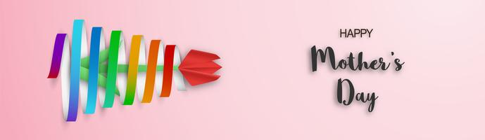 Modèle de conception pour la bonne fête des mères. Illustration vectorielle en papier découpé et style artisanal. Fond de décoration avec des fleurs pour invitation, couverture, bannière, publicité. vecteur