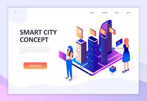 Concept isométrique moderne design plat de Smart City Technology vecteur
