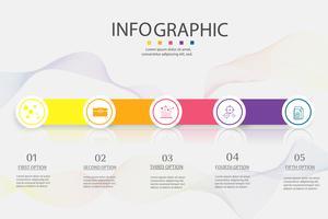 Élément de graphique infographique d'options de conception ou de modèle d'affaires 5 vecteur