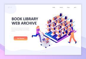 Concept isométrique moderne design plat de la bibliothèque de livres