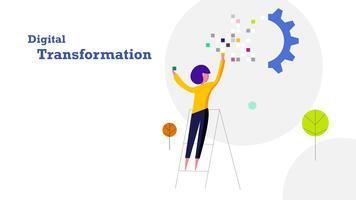Fond de design plat de transformation numérique. Humain remplit l'autocollant de données de pixels sur le train d'engrenages industriel. Industrie 4.0 et concept technologique.