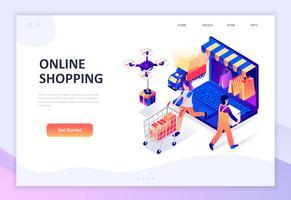 Concept isométrique de design plat moderne de shopping en ligne vecteur