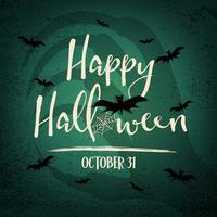 Bonne fête d'Halloween avec l'ombre de la sorcière à l'arrière-plan. Éléments web chauves-souris et araignée. Concept de vacances et de festival. Thème fantôme et horreur. Thème de cartes de voeux et de décoration. Illustration vectorielle