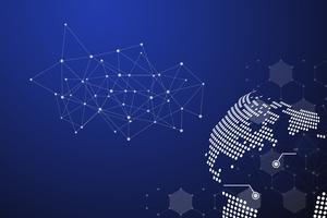Abstrait bleu de technologie avec le point de la ligne blanche. Concept d'entreprise et de connexion. Thème Internet et réseau Internet. Fond d'écran de l'industrie intelligente et de l'informatique. Le futur et l'industrie 4.0
