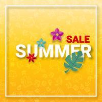 Fond de vente de l'été avec des icônes d'activités de l'été et une fleur décorative en style papercraft. Artisanat numérique et concept de fond d'écran Hot promotion étiquette de prix bannière. Illustration vectorielle vecteur