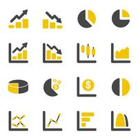 Graphique de conception graphique et icônes de diagramme. Concept commercial et financier. Ensemble de collection d'icônes plat. Illustration vectorielle