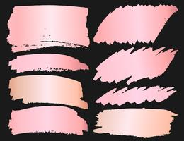 Série de coups de pinceau, coups de pinceau grunge en or rose. Illustration vectorielle