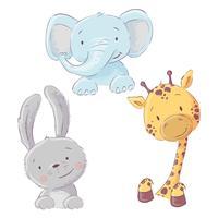Ensemble de bébé éléphant lapin et girafe. Style de bande dessinée. Vecteur