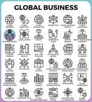 Icônes de concept global business vecteur