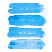 Aquarelle de pinceau bleu sur fond blanc. Illustration vectorielle