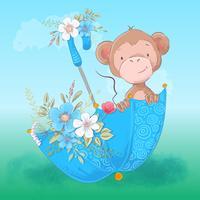 Carte postale parapluie de singe mignon et fleurs. Style de bande dessinée. Vecteur