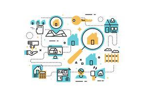Illustration d'icônes de ligne immobilier vecteur