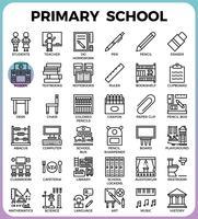 Jeu d'icônes de l'école primaire vecteur