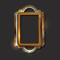 Bordures et cadres décoratifs vintage dorés vecteur