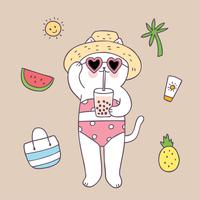 Chat d'été mignon de bande dessinée sur le vecteur de la plage.