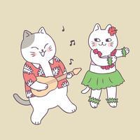 Chat d'été mignon de bande dessinée jouant de la guitare et danser le vecteur. vecteur