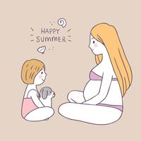 Bande dessinée été mignon maman et fille et chien de vecteur.
