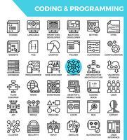 Concept de codage et de programmation détaillé des icônes de ligne vecteur