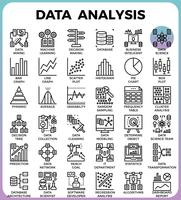 Icônes de ligne détaillées de concept d'analyse de données vecteur