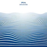 Motif de vagues lignes abstraites bandes ondulées bleues sur le backhround blanc et la texture. vecteur