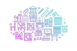 Illustration des icônes ligne dégradé école et éducation