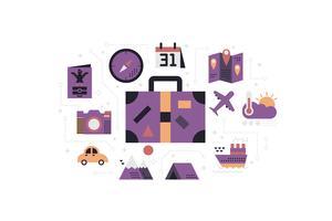 Illustration de concept de voyage icônes vecteur