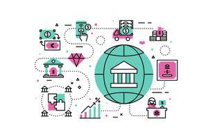 Illustration bancaire et financière vecteur