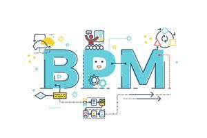BPM: mot de gestion des processus métier vecteur