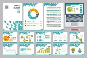 Feuille de couverture du rapport annuel A4 et modèle de présentation vecteur