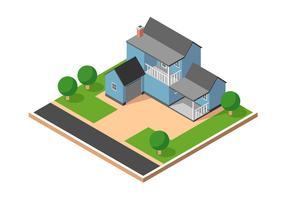 Vecteur de maison de banlieue isométrique