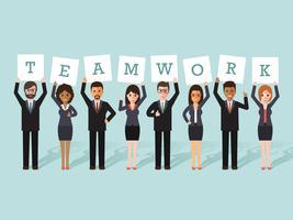 Travail d'équipe homme d'affaires et femme d'affaires vecteur