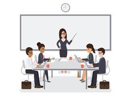 Rencontre hommes et femmes d'affaires vecteur