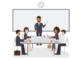 Rencontre d'hommes d'affaires et de femmes d'affaires. vecteur