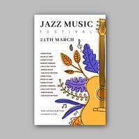 Modèle d'Affiche de festival de musique jazz avec doodles
