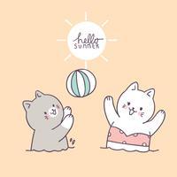 Chats mignons de dessin animé jouant vecteur de balle.