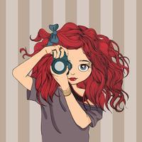Caricature de femme prend des photos