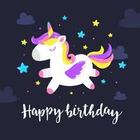 Carte de voeux d'anniversaire de licorne vecteur