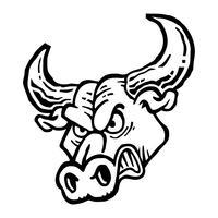 Illustration de tête de taureau en colère vecteur