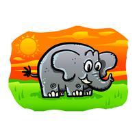 Illustration d'éléphant de dessin animé mignon