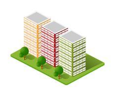 Maisons isométriques, maisons de ville, vecteur