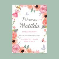 Modèle de carte d'invitation florale et girly