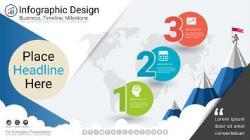 Modèle d'infographie d'entreprise, chronologie de jalon ou feuille de route avec options de l'organigramme de processus 3