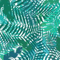 Main, dessin de modèle exotique botanique avec des feuilles de palmier vert. Fond d'été. vecteur