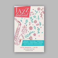 Modèle d'affiche de musique adorable avec jazz et fleurs vecteur