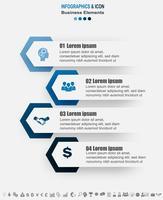 Modèle de graphique de processus infographie métier. les icônes marketing peuvent être utilisées pour la mise en page, le rapport, le flux de travail. Concept d'entreprise avec 4 options, étapes ou processus. Vecteur