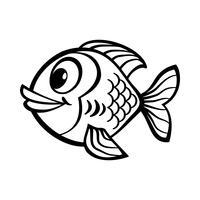 Icône de vecteur de dessin animé poisson rouge