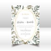 Carte d'invitation de mariage feuilles aquarelle vecteur