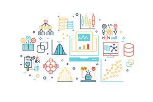 Illustration des icônes de ligne d'analyse de données